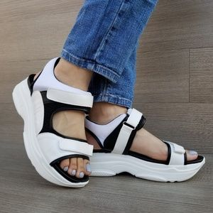 Shoes - 90s Chunky Platform Velcro Light Weight Sandal-F